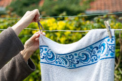 Hanging laundry outdoor royalty free stock photo