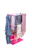 Hanging Laundry on Pink Rack Stand Royalty Free Stock Photography