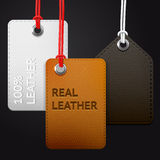Hanging leather texture vector tags Stock Photos