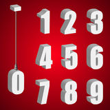 Hanging light bulb digits. 3d isometric numbers Royalty Free Stock Images