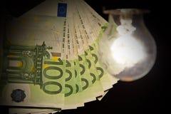 Hanging light bulb illuminating bank notes Royalty Free Stock Photos