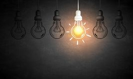 Hanging light bulb Royalty Free Stock Photography