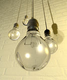 Hanging Light Bulbs And Fittings On A Wall. Four regular unlit light bulb fitted into light fittings hanging from chords on a white washed brick wall royalty free illustration