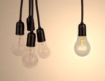 Hanging light bulbs Stock Photography