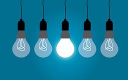 Hanging light bulbs, idea concept Stock Photos