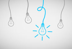 Free Hanging Light Bulbs Reminding Of An Idea Stock Images - 98853844