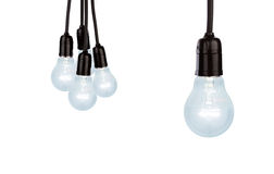 Hanging light bulbs Stock Images