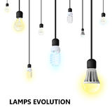 Hanging light bulbs on a white background. Royalty Free Stock Images