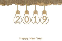 Hanging lightbulb with numbers isolated on white for Happy New Year 2019. Hanging lightbulb on sky with numbers isolated on white for Happy New Year 2019, design royalty free illustration