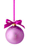 Hanging lilac christmas ball isolated Stock Images