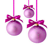 Hanging lilac christmas balls isolated Royalty Free Stock Images