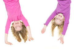 Hanging little girls Royalty Free Stock Photo