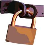 Hanging lock. Vectorial image of the navesnogo metallic closed lock royalty free illustration