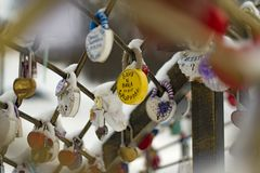 Castle devotion Vani and Wikis. Hanging locks of loyalty and devotion to each other young couple Stock Photography