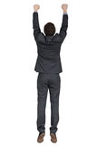 Hanging man in black suit. Back view of hanging man in black suit. isolated on white background Stock Photo