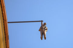 Hanging man, Sigmund Freud in Prague, Czech Republic. Royalty Free Stock Photos