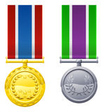 Hanging medals and ribbons Royalty Free Stock Photography