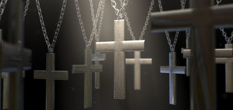 Hanging Metal Crucifixes Royalty Free Stock Image
