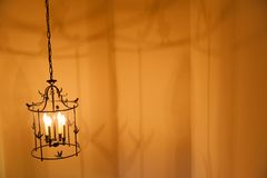 Hanging metal light fixture. Stock Photography