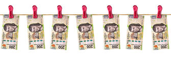 Hanging Mexican Money Stock Photo