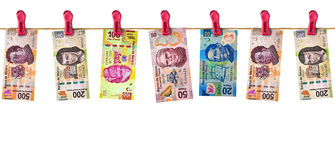 Hanging Mexican Money Royalty Free Stock Photos