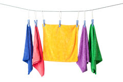 Hanging microfiber towels Stock Photos