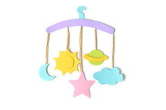 Hanging mobile for kid on white background Stock Image