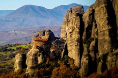 Hanging monastery at Meteora of Kalampaka in Greece Royalty Free Stock Photography