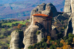 Hanging monastery at Meteora of Kalampaka in Greece. The Meteora Royalty Free Stock Photos