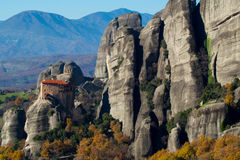 Hanging monastery at Meteora of Kalampaka in Greece. The Meteora Royalty Free Stock Photography