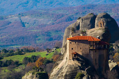 Hanging monastery at Meteora of Kalampaka in Greece. The Meteora Royalty Free Stock Images