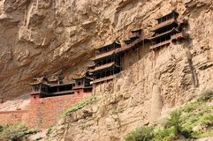 Hanging monastery temple near Datong, China Royalty Free Stock Image