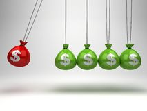 Hanging money bags as Newton's Cradle Royalty Free Stock Photos