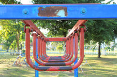 Hanging monkey bars. At playground in the park Stock Photography
