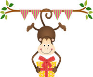 Hanging monkey holding a birthday gift Royalty Free Stock Images