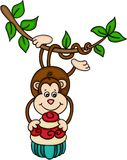 Hanging monkey holding a cupcake Royalty Free Stock Photography