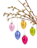 Hanging multicolored easter eggs Royalty Free Stock Photos