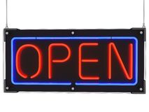 Hanging Neon Sign with word Open Stock Images