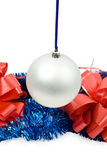 Hanging New Year's toy. Isolated hanging New Year's toy on a white background Royalty Free Stock Images