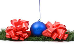 Hanging New Year's toy. Isolated hanging New Year's toy on a white background Royalty Free Stock Photo