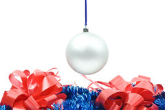 Hanging New Year's toy. Isolated hanging New Year's toy on a white background Stock Photo