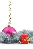 Hanging New Year's toy and candle. Isolated hanging New Year's toy and candle on a white background Royalty Free Stock Images