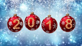 Hanging 2018 number glitter Christmas balls on blue bokeh background. royalty free illustration