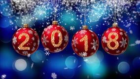 Hanging 2018 number glitter Christmas balls on blue bokeh background. vector illustration