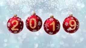 Hanging 2019 number glitter Christmas balls on blue bokeh background. 4K vector illustration