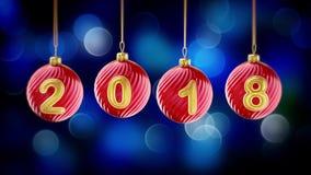 Hanging 2018 number glitter Christmas balls on blue bokeh background. 4K stock footage