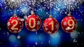 Hanging 2019 number glitter Christmas balls on blue bokeh background. 4K stock footage