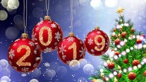 Hanging 2019 number glitter Christmas balls on blue bokeh background. 4K stock illustration