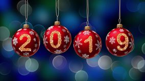 Hanging 2019 number glitter Christmas balls on blue bokeh background. 4K stock video footage