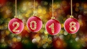 Hanging 2018 number glitter Christmas balls on gold bokeh background. vector illustration